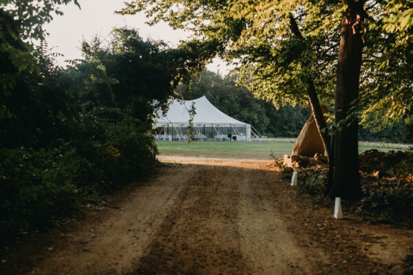 Wedding tent in field