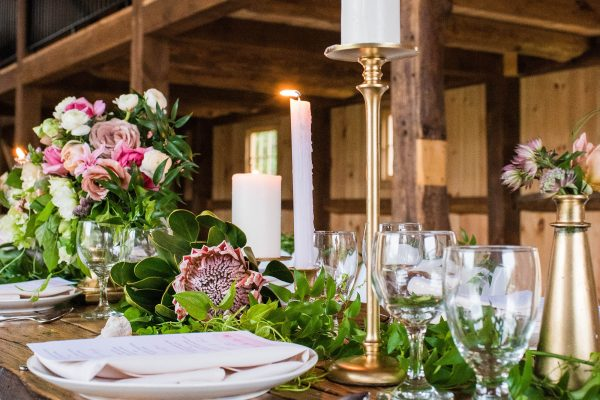 Rustic barn table settings