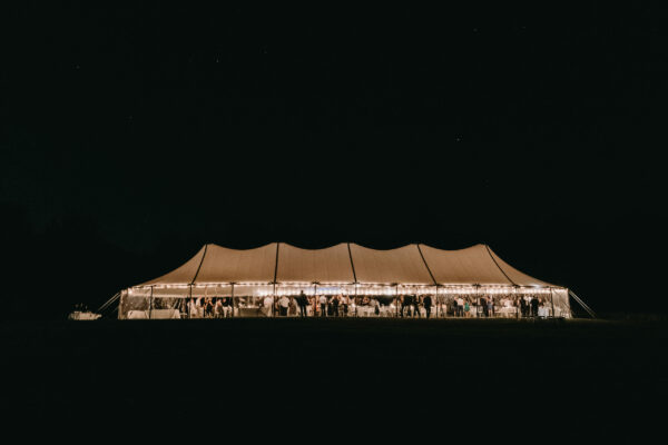 Wedding tent at night in Alnoba field