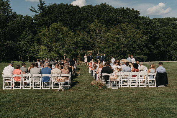 Outdoor wedding ceremony guests