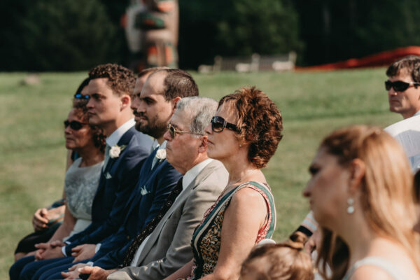 Wedding guests in Clem's Field at Alnoba